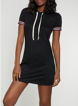 Striped Tape Trim T Shirt Dress - 1094054260818