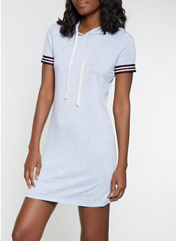 Striped Tape Trim T Shirt Dress - 1094054260818