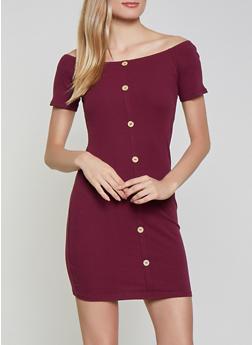 Faux Button Off the Shoulder Dress - 1094054261127