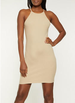 Solid Ribbed Tank Dress - 1094054262074