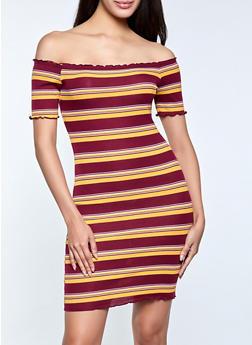 Striped Lettuce Edge Off the Shoulder Dress - 1094054262234