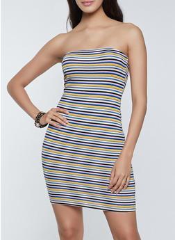 Striped Ribbed Tube Dress - 1094054262296