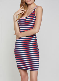 Striped Rib Knit Tank Dress | 1094054263144 - 1094054263144