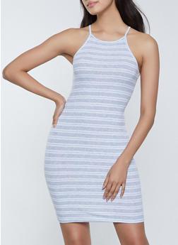 Striped High Neck Cami Dress - 1094054263145
