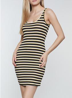 Rib Knit Striped Tank Dress - 1094054264144