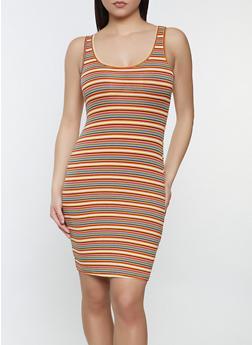 Striped Rib Knit Tank Dress - 1094054265144