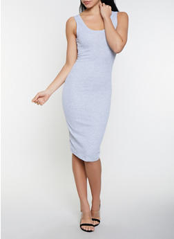 Ribbed Knit Midi Tank Dress - 1094054265277