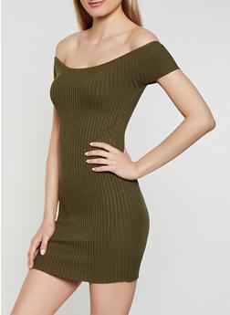 Off the Shoulder Ribbed Knit Dress - 1094054265818