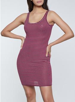Striped Rib Knit Midi Tank Dress - 1094054266144