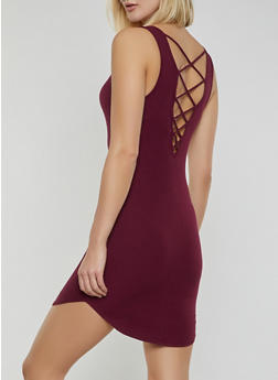 Caged Back Ribbed Knit Bodycon Dress - 1094054267362