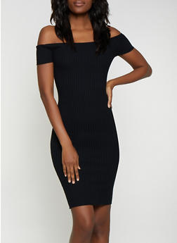 Ribbed Off the Shoulder Midi Dress - 1094054267725
