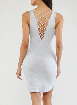 Ribbed Knit Caged Back Dress - 1094054268362