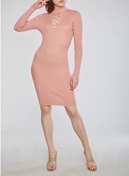 Rib Knit Lace Up Mock Neck Sweater Dress - 1094054268889
