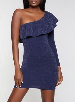 Ruffled One Shoulder Dress - 1094058750102
