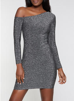 One Shoulder Glitter Knit Dress - 1094058750118