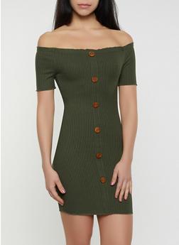 Off the Shoulder Ribbed Tube Dress - 1094058750210