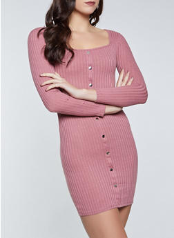 Snap Detail Square Neck Sweater Dress - 1094058750635