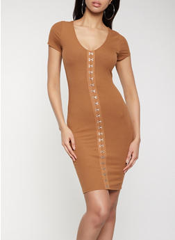 Hook and Eye Clasp Ribbed Bodycon Dress - 1094058750644