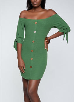 Wooden Button Detail Off the Shoulder Dress - 1094058750645