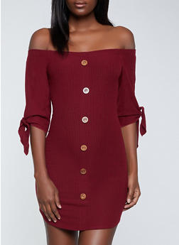 Wooden Button Detail Off the Shoulder Dress - 1094058750645