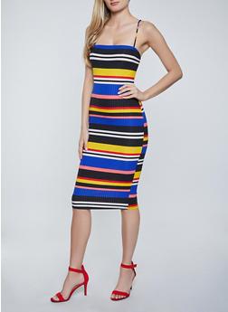 Striped Square Neck Cami Dress - 1094058750664
