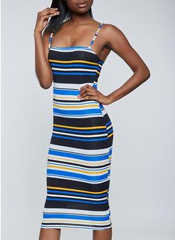 Striped Rib Knit Cami Dress - 1094058750665