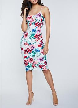 Tropical Floral Cami Bodycon Dress - 1094058750705
