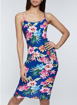 Tropical Floral Cami Bodycon Dress - 1094058750705