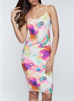 Mixed Print Cami Bodycon Dress - 1094058750706