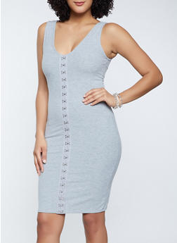 Ribbed Knit Tank Dress - 1094058750961