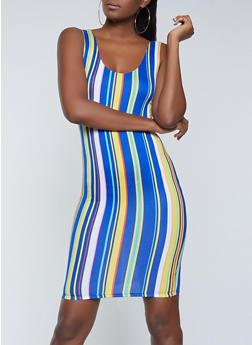 Vertical Stripe Tank Midi Dress - 1094058750975