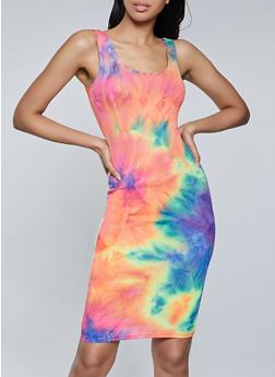 Tie Dye Ribbed Knit Tank Dress - 1094058750980