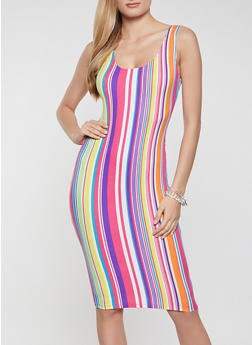 Vertical Stripe Rib Knit Tank Dress - 1094058750981