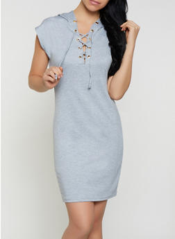Lace Up Sweatshirt Dress - 1094058752794
