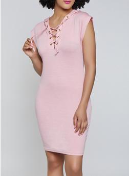 Lace Up Sweatshirt Dress - 1094058752794
