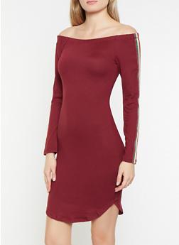 Shimmer Knit Tape Off the Shoulder Dress - 1094058752798