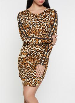 Leopard Varsity Stripe T Shirt Dress - 1094058752799