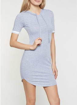 Elastic Trim Hooded T Shirt Dress - 1094058752800