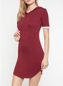 Elastic Trim Hooded T Shirt Dress - 1094058752800