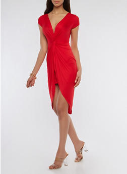Knot Front Bodycon Dress - 1094058753466