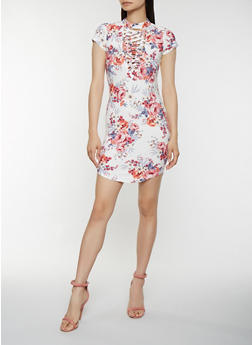 Lace Up Floral Bodycon Dress - 1094058753552