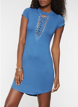 Soft Knit Lace Up Bodycon Dress - 1094058753560