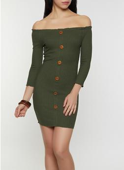 Off the Shoulder Faux Button Bodycon Dress - 1094058754039