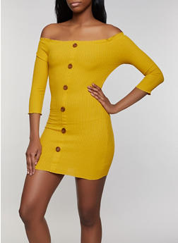 Off the Shoulder Faux Button Bodycon Dress - 1094058754039