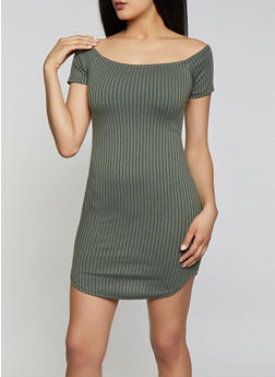 Rib Knit Off the Shoulder Bodycon Dress | 1094058754622 - 1094058754622