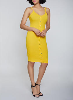Button Ribbed Knit Cami Dress - 1094058754623