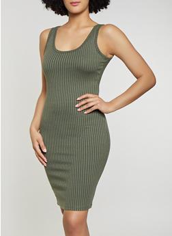 Solid Ribbed Knit Tank Dress - 1094058754624