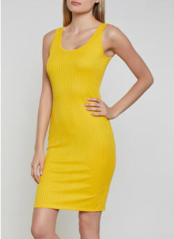 Solid Ribbed Knit Tank Dress - 1094058754624