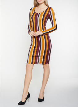 Striped Brushed Knit Bodycon Dress - 1094058754628