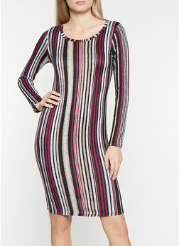 Striped Brushed Knit Bodycon Dress - 1094058754630